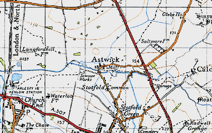 Old map of Astwick in 1946