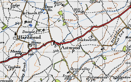 Old map of Astwood Grange in 1946