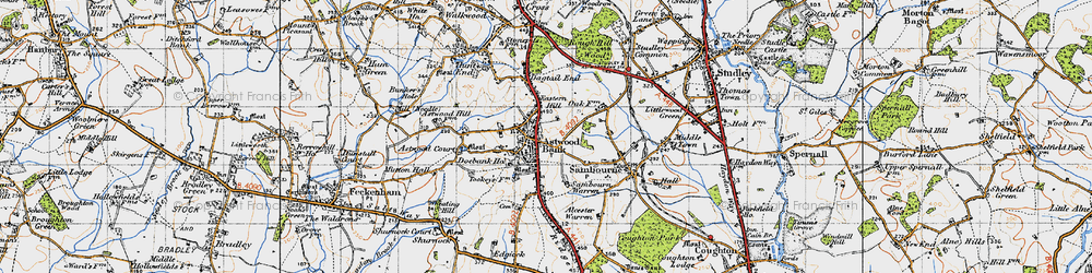 Old map of Astwood Bank in 1947