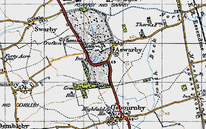 Old map of Aswarby in 1946
