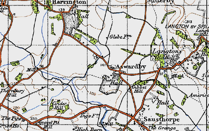 Old map of Aswardby Mill in 1946
