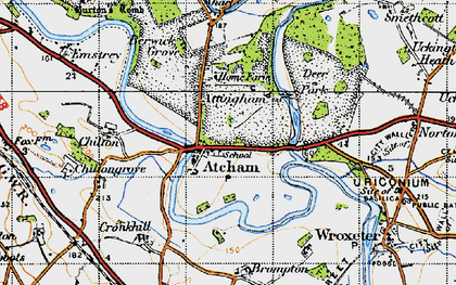 Old map of Attingham in 1947