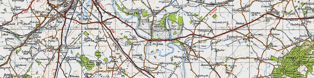 Old map of Atcham in 1947