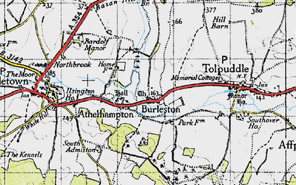 Old map of Athelhampton in 1945