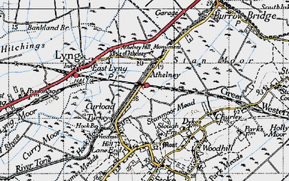 Old map of Athelney in 1945