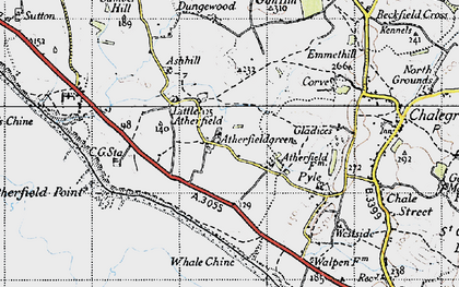 Old map of Atherfield Point in 1945