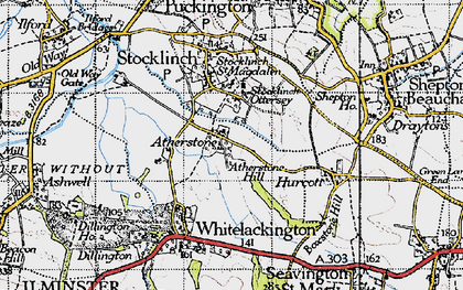 Old map of Atherstone Hill in 1945
