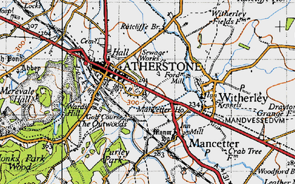 Old map of Atherstone in 1946