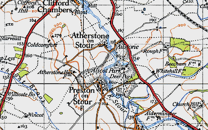 Old map of Atherstone on Stour in 1946