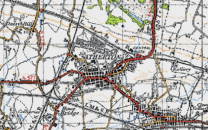 Old map of Atherton in 1947