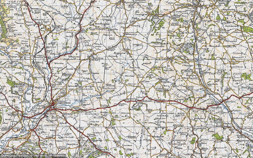 Old Map of Historic Map covering Woodhead in 1946