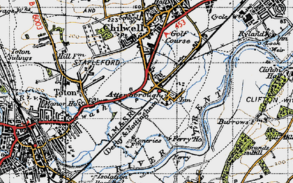 Old map of Attenborough in 1946