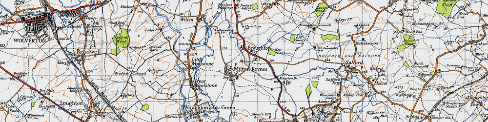 Old map of Willen Lake in 1946