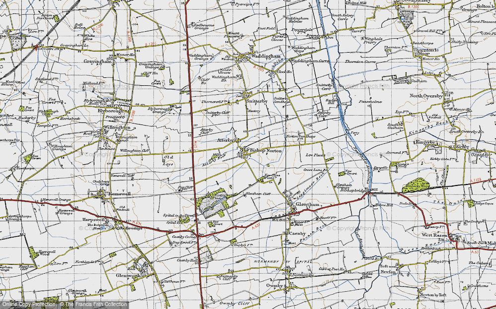 Old Map of Historic Map covering Atterby Carr in 1947