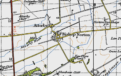 Old map of Atterby Beck in 1947