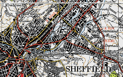 Old map of Attercliffe in 1947