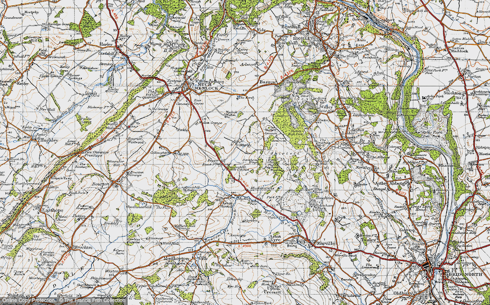 Old Map of Atterley, 1947 in 1947