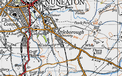 Old map of Attleborough in 1946
