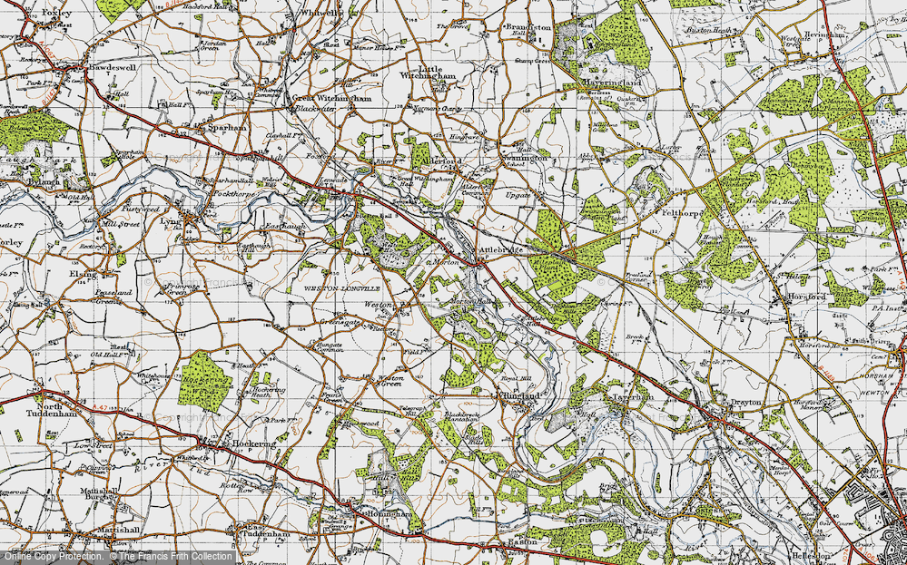 Old Map of Historic Map covering Attlebridge Hills in 1945