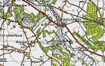 Old map of Attlebridge Hills in 1945