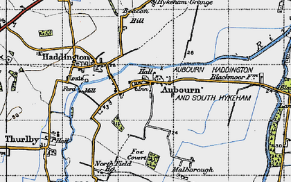 Old map of Aubourn in 1947