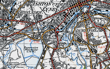 Old map of Audenshaw Resrs in 1947