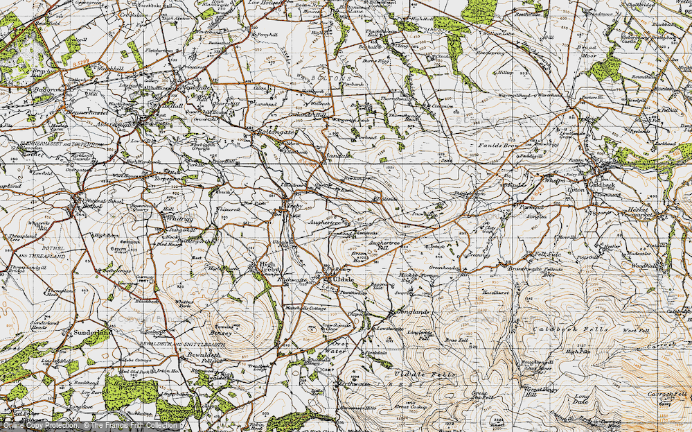 Old Map of Historic Map covering Aughertree Fell in 1947