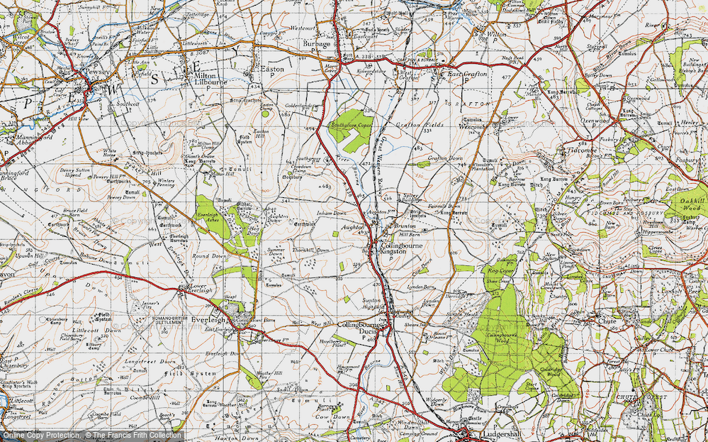 Old Map of Historic Map covering Aughton Down in 1940
