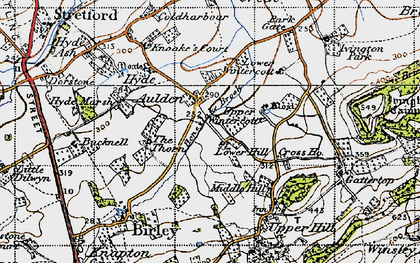 Old map of Aulden in 1947