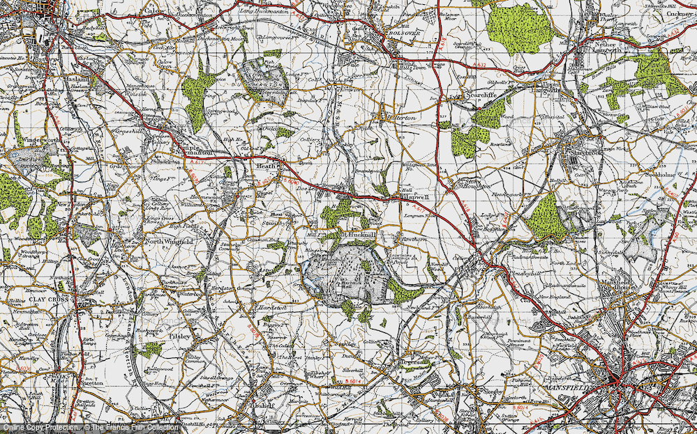 Old Map of Ault Hucknall, 1947 in 1947