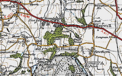 Old map of Ault Hucknall in 1947
