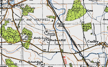 Old map of Aunby in 1946