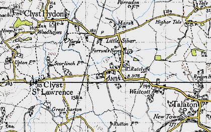 Old map of Aunk in 1946