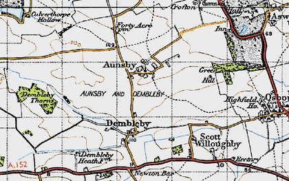 Old map of Aunsby in 1946