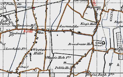 Old map of Austendike in 1946