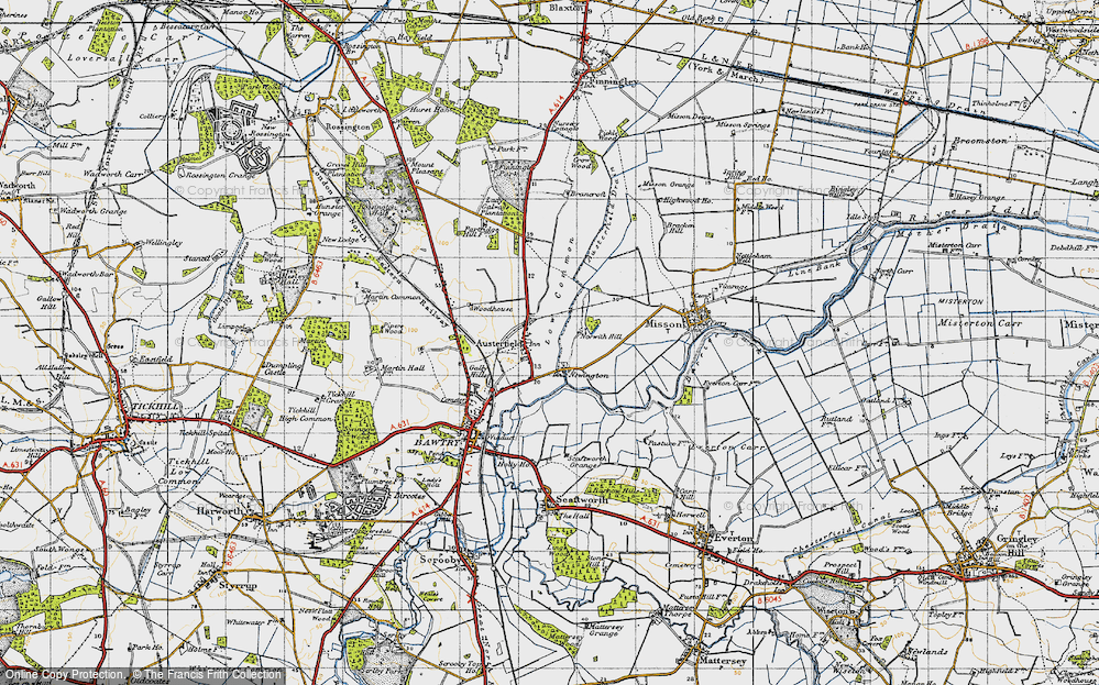 Old Map of Historic Map covering Austerfield Drain in 1947