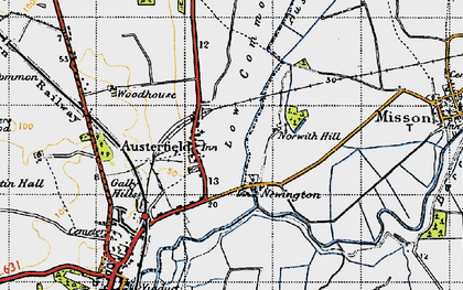 Old map of Austerfield Drain in 1947