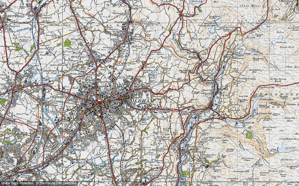 Old Map of Austerlands, 1947 in 1947