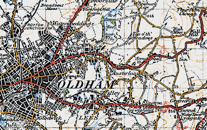 Old map of Austerlands in 1947