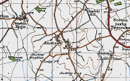 Old map of Austrey in 1946