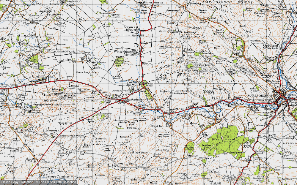 Old Map of Historic Map covering Avebury Down in 1940