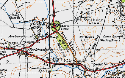 Old map of Avebury Down in 1940