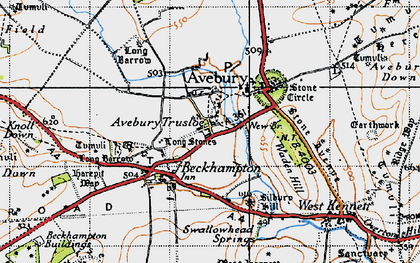 Old map of Avebury Trusloe in 1940
