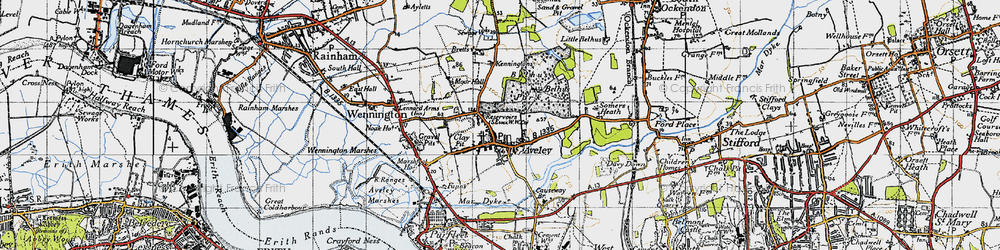 Old map of Aveley in 1946
