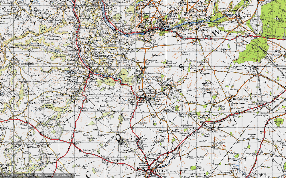 Old Map of Avening, 1946 in 1946