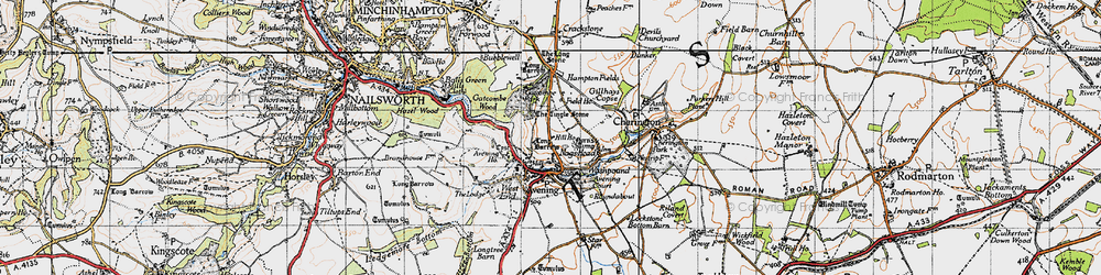 Old map of Avening in 1946