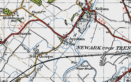 Old map of Averham in 1947