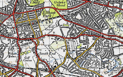 Old map of Avery Hill in 1946