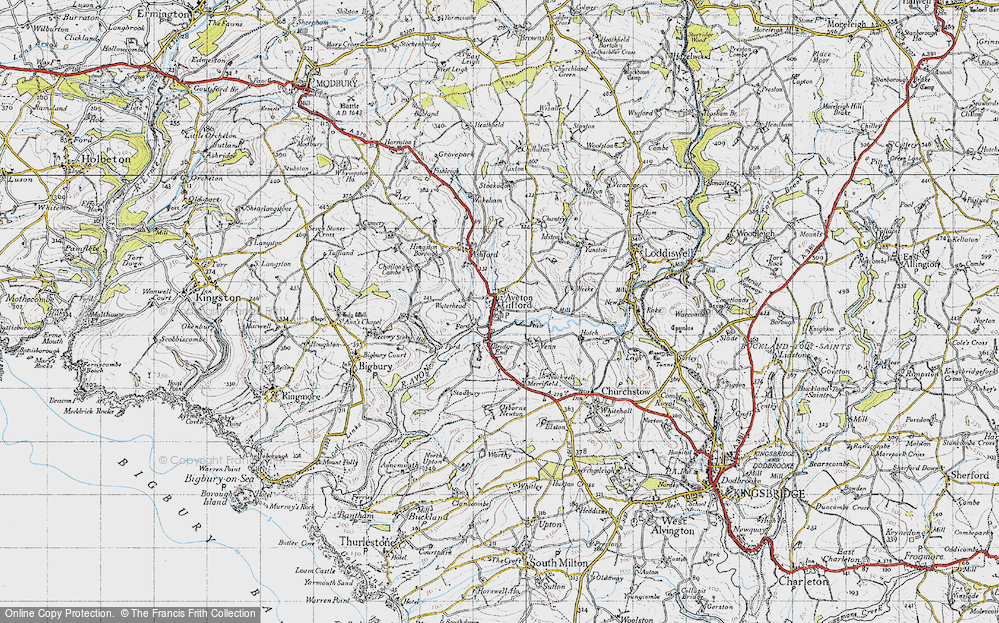 Old Map of Aveton Gifford, 1946 in 1946
