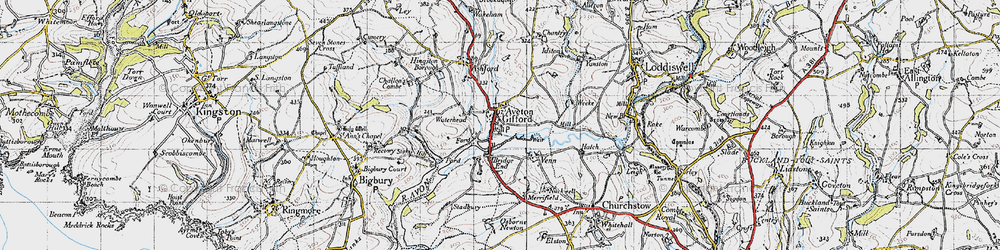 Old map of Aveton Gifford in 1946